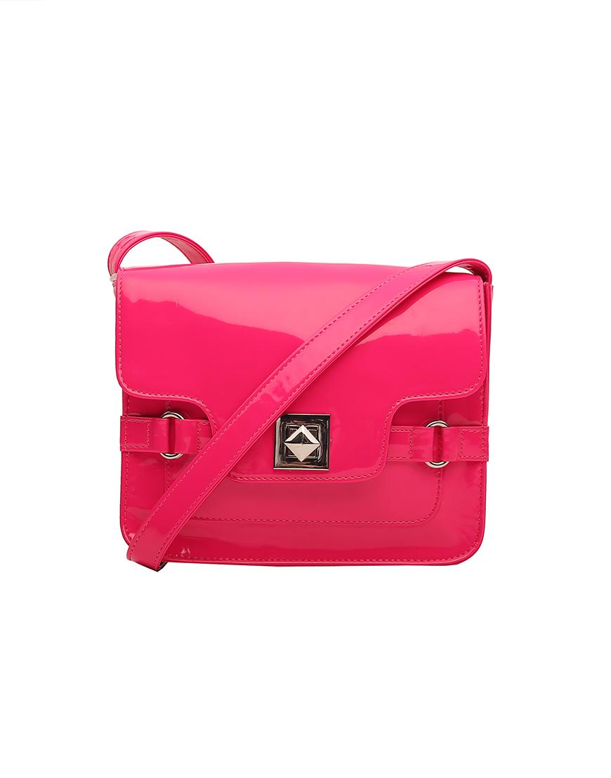 Patent Pink Mini Messenger Bag