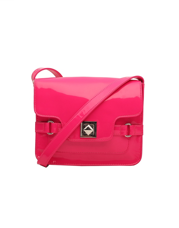 Patent Pink Mini Messenger Bag