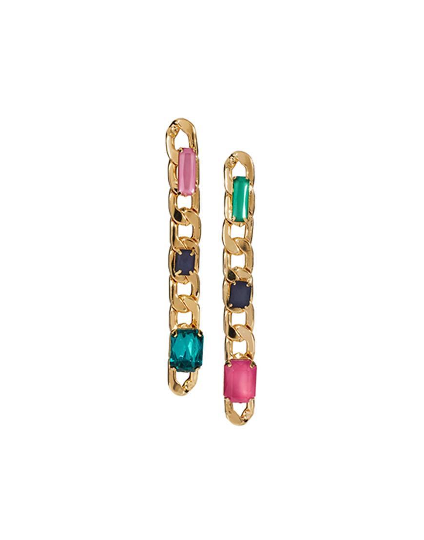 Multicolor Gem Chain Drop Earrings