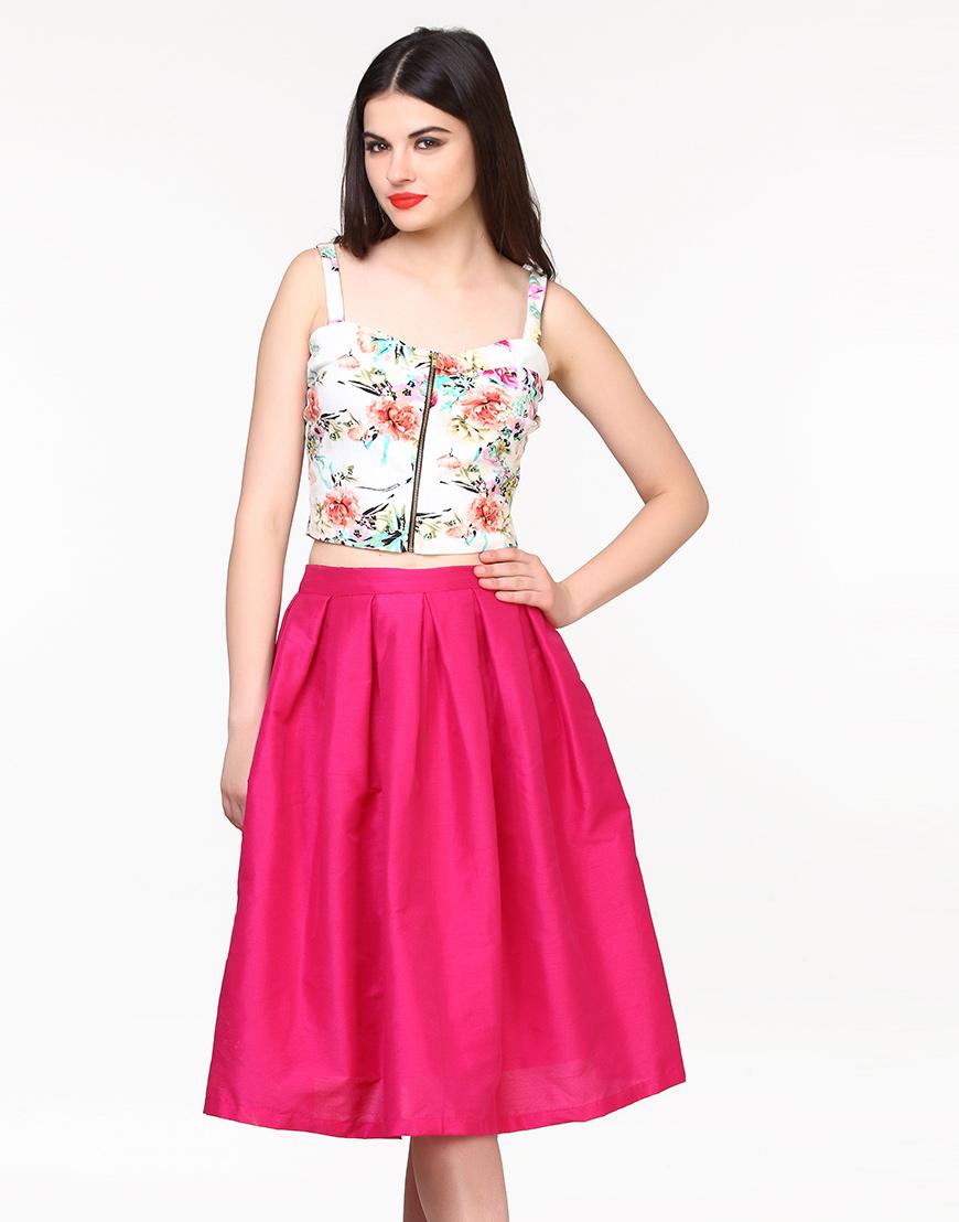 Glam Girl Silk Midi Skirt in Pink