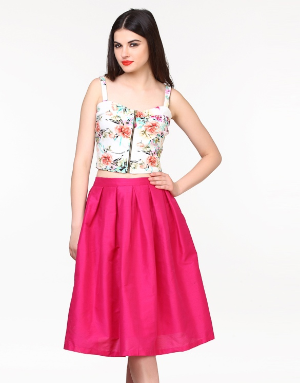 Glam Girl Silk Midi Skirt in Pink