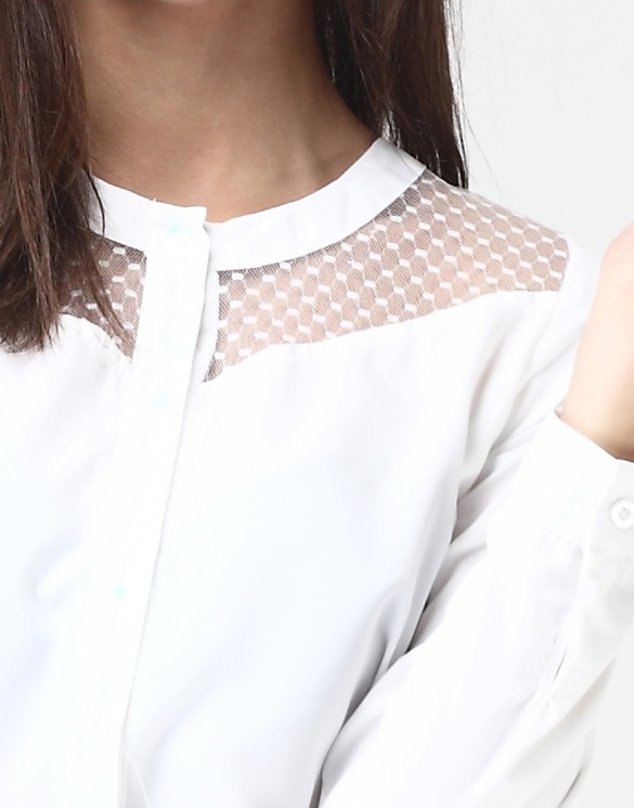 Mesh Fling Shirt in White