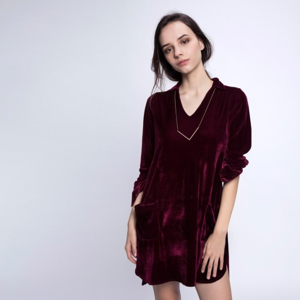 wine-velvet-shirt-dress